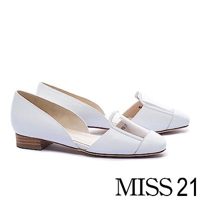 低跟鞋 MISS 21 時髦視覺真皮拼接設計低跟鞋-白