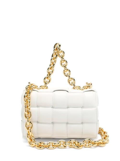 Bottega Veneta - The Chain Cassette Intrecciato-leather Bag - Womens - White Gold