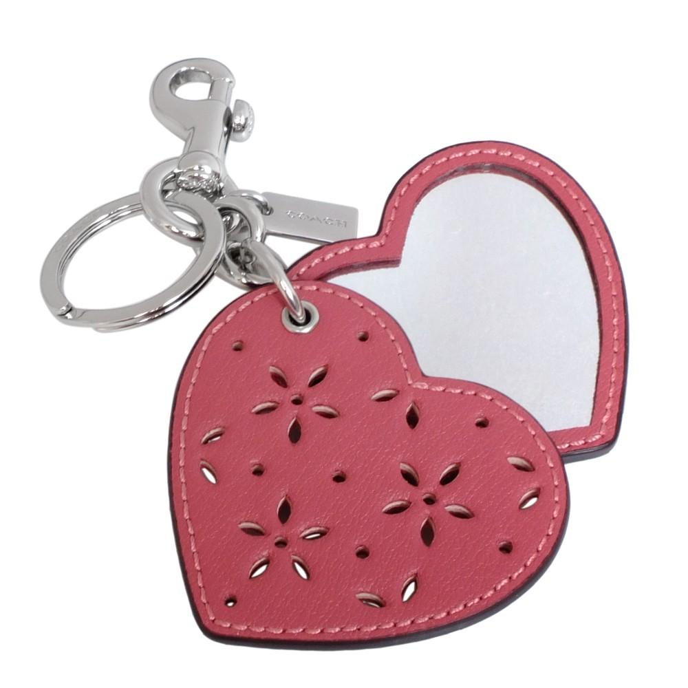COACH 66749 梅紅鏤刻雕花愛心隨身鏡雙扣環鑰匙圈【普風歐美精品】