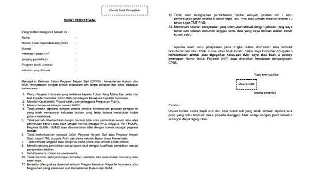 39+ Download pdf surat pernyataan cpns kemenkumham 2019 formasi cpns