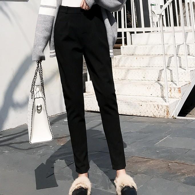 【M050842】西裝褲 韓版寬鬆毛呢九分西裝褲 哈倫褲長褲 1色 F