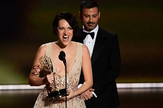British actress Phoebe Waller-Bridge accepts the Outstanding Lead Actress in a Comedy Series award for 'Fleabag' onstage during the 71st Emmy Awards at the Microsoft Theatre in Los Angeles on September 22, 2019.