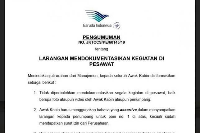 Surat Larangan Memotret di dalam Pesawat Garuda Indonesia (Istimewa)