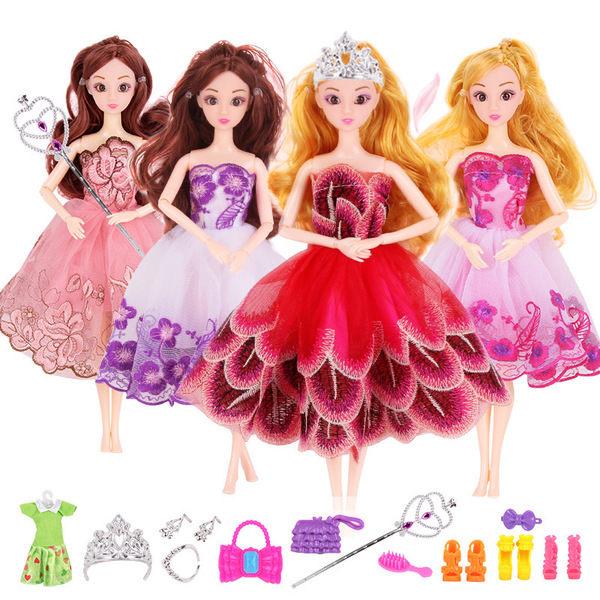 3D真眼美瞳換裝洋娃娃長裙公主車載禮服過家家女孩派對玩具套裝