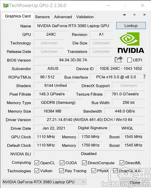 NVIDIA GeForce RTX 3080 GPU-Z 詳細資訊。