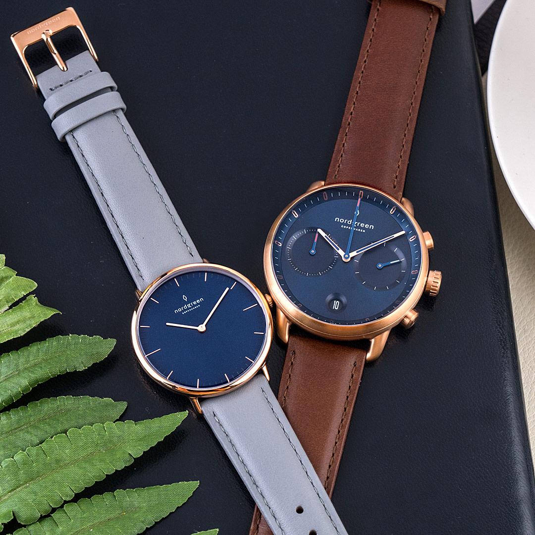 【2.14情人錶 贈原廠錶帶】新作! ND對錶 Pioneer 先鋒 x Native 本真 玫瑰金殼×藍面 42mm+36mm 復古棕+北極灰真皮錶帶 情人對錶 Nordgreen 北歐設計師手錶