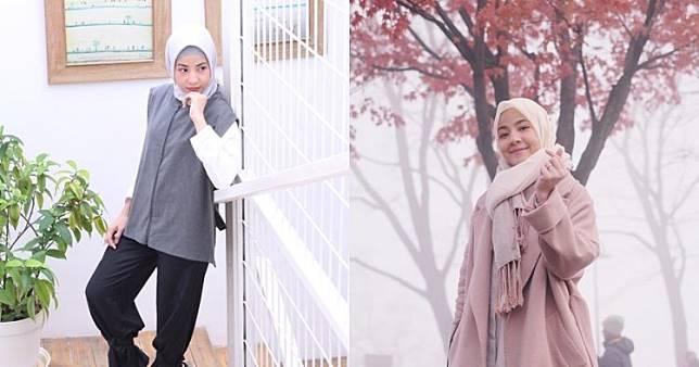 10 Gaya berhijab Natasha Rizki, modis dan menawan