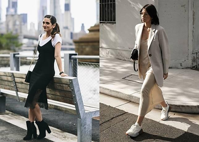 穿搭方法2:吊帶裙  + 短靴 / 波鞋:配高踭短靴一來可以顯高,二來造型會更有型格;而運動鞋營造的反差效果,穿出舒適與隨性。(互聯網)