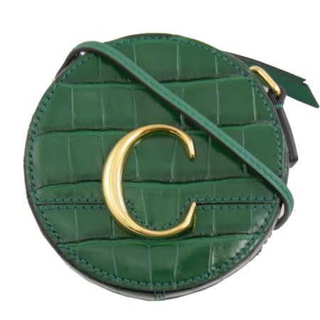 CHLOE 專櫃商品 金屬C Mini 鱷魚紋斜背圓型包.綠