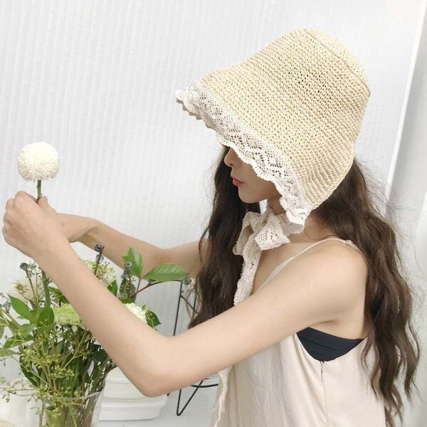 網紅草帽女夏蕾絲系帶沙灘帽小清新海邊出遊度假防曬遮陽帽子綁帶 雙11八折鉅惠