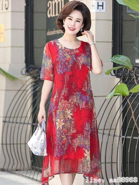 媽媽禮服 媽媽夏裝連衣裙新款中年40歲50中老年女裝闊太太高貴洋氣裙子 韓菲兒
