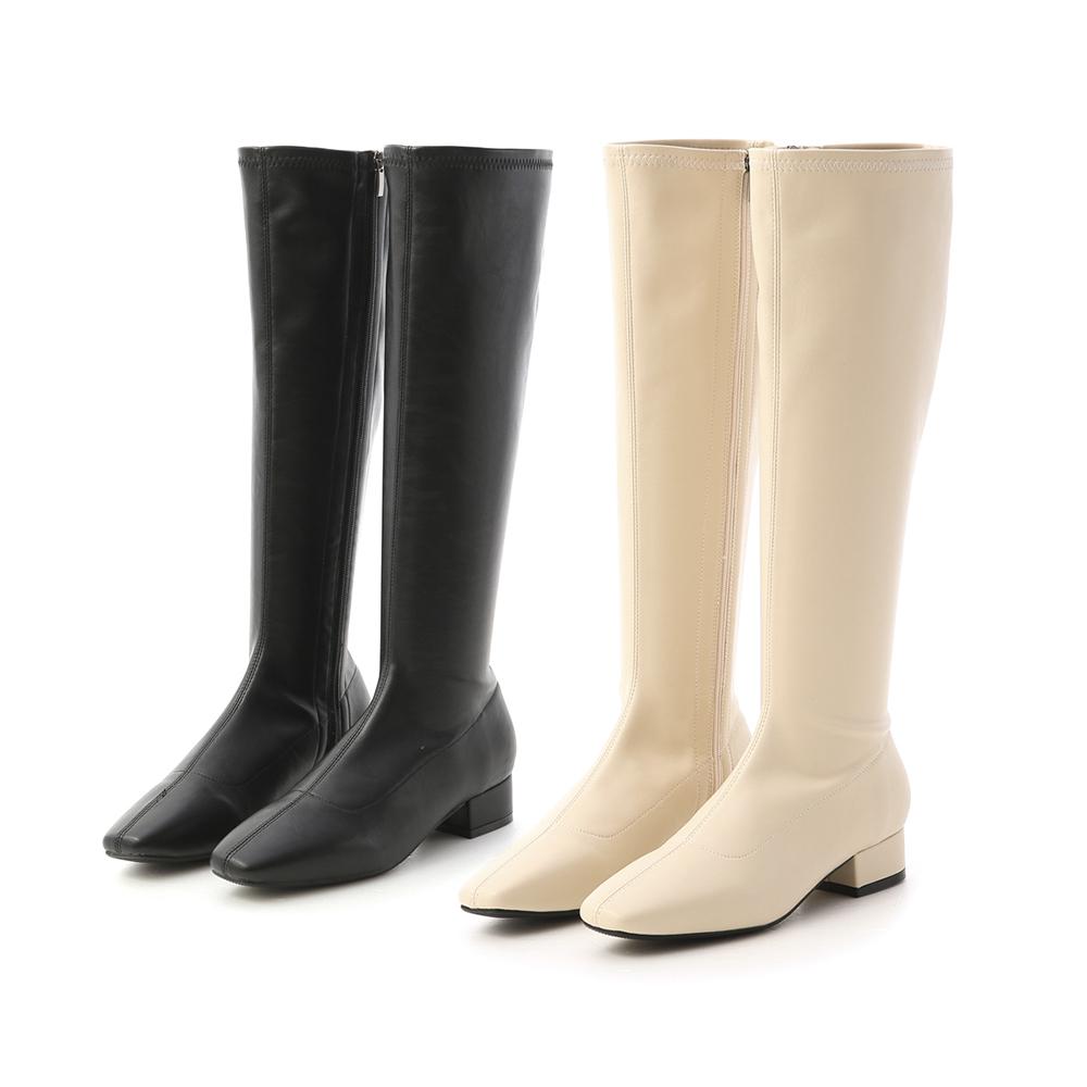 D+AF素面顯瘦感低跟長靴 膝下靴