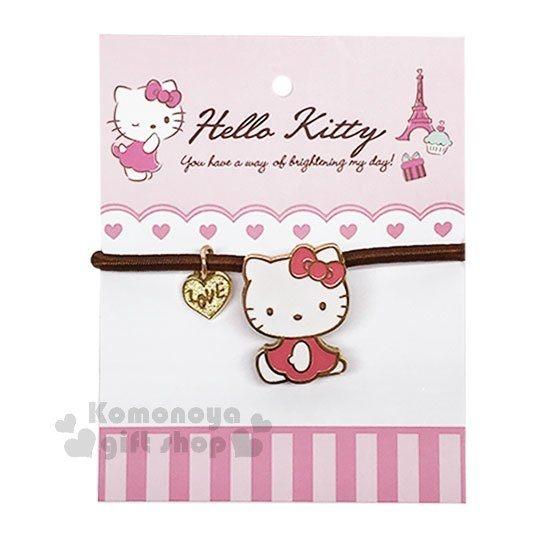 〔小禮堂〕Hello Kitty 造型彈力髮束《粉咖.側坐》髮圈.法式午後系列 4719585-00639