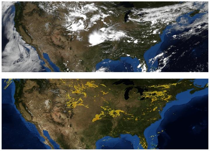 天氣預報有賴許多觀測數據。上圖為衛星雲圖,下圖為都普勒雷達降雨圖。(GIF動圖,容量:4MB。圖片來源:NOAA,NWS,NSSL)
