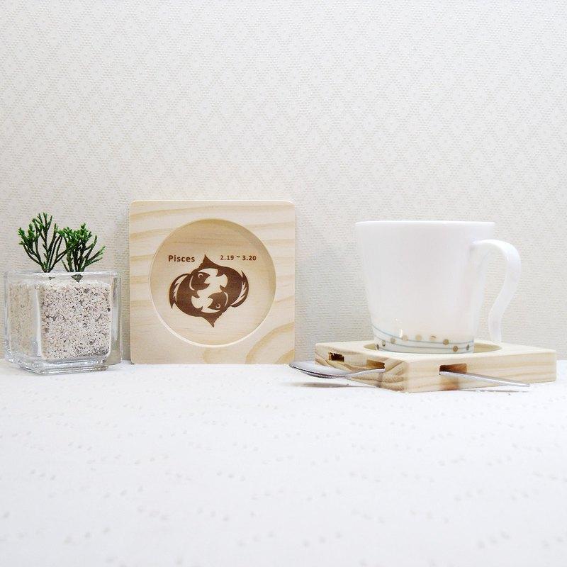 雙魚座 畢業禮物 實木 手工 天然漆臘 杯墊 生日禮物 客製化 名字 可以加購生日蛋糕 一份禮物雙重祝福