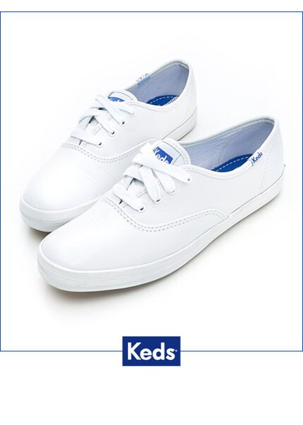 【領券滿1200再折120】KEDS W110015 經典升級皮質綁帶休閒鞋(白皮革) 白鞋綁帶懶人鞋平底