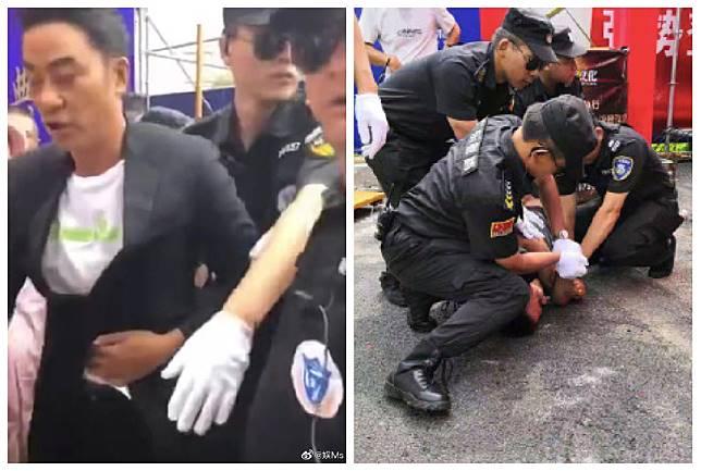 ▲任達華遭刺傷的影片在微博瘋傳。(圖/翻攝微博)