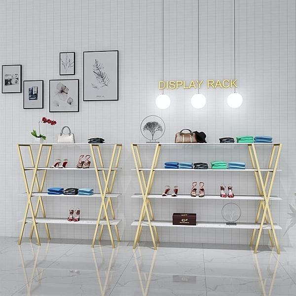 金色鞋店鞋架展示架服裝店貨架置物架落地式包包店鋪裝修設計效果