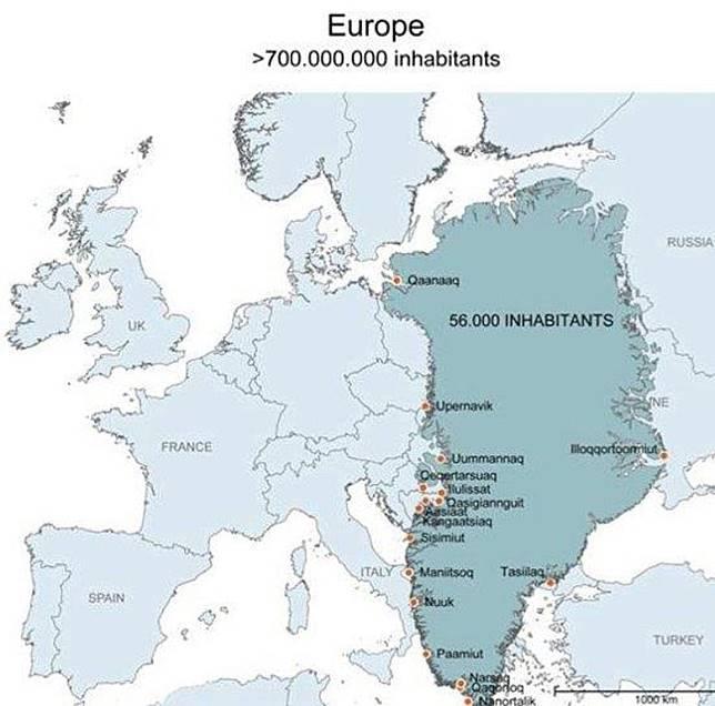 格陵蘭島總面積達到200萬平方公里,是世界上最大的島,半當於整個東歐。(互聯網)