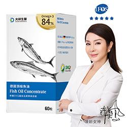 大研rTG形式魚油每份1200mg含有EPA+DHA 960 mg,別於一般市售只含量30%,同樣體積可攝取更高含量的EPA、 DHA。原料採用德國大廠KD Pharma,擁有11項製程專利與2項功效