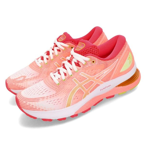 Asics 慢跑鞋 Gel-Nimbus 21 粉紅 螢光黃 漸層 女鞋 運動鞋 【PUMP306】 1012A611100