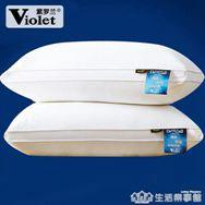 一對裝紫羅蘭全棉羽絲絨水洗枕頭枕芯五星級酒店一對枕芯