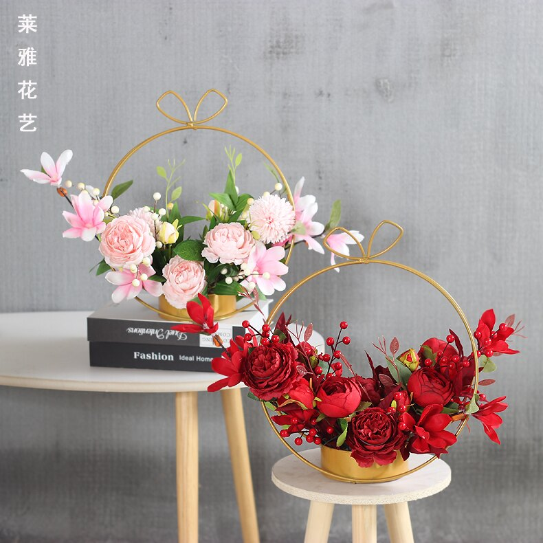 母親節禮物 家居擺件 仿真花套裝假花絹花客廳擺設鐵藝花籃母親節禮物創意