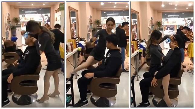 泰國一名辣妹理髮師穿著短裙直接跨坐在男客大腿上理髮剃鬍子,讓不少男網友看了直呼超羨慕。(圖/合成圖,翻攝自臉書)