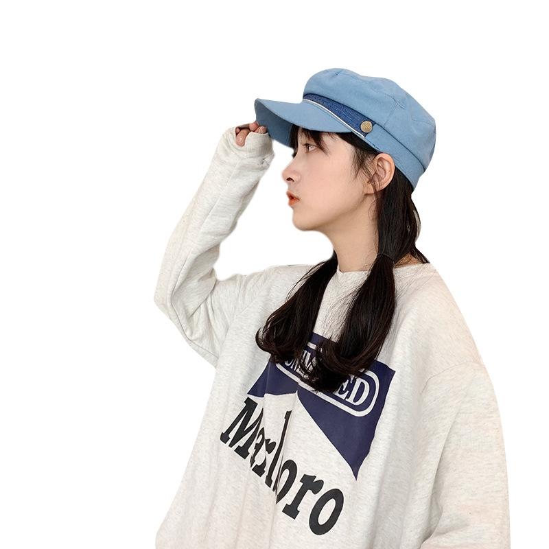 日系海軍帽子女士夏天韓版潮百搭貝雷帽薄款網紅復古英倫遮八角帽