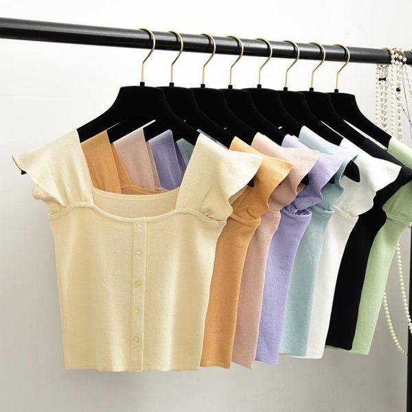 短板上衣 針織吊帶小背心性感韓版T恤無袖高腰短款露臍