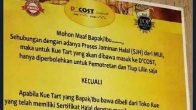 D'Cost Seafood larang pengunjung bawa kue tanpa sertifikat halal. (Twitter@ezkisuyanto)
