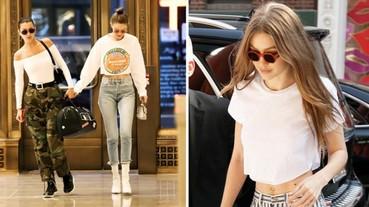 真「腰」瘦! Gigi Hadid 本周《私服穿搭》居然剪破上衣,大秀小蠻腰! ?