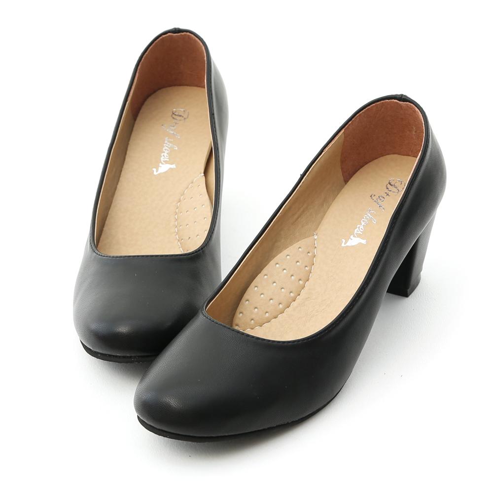 D+AF 舒適百搭.MIT素面圓頭5cm粗跟鞋
