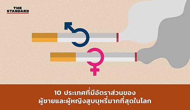 10 ประเทศที่มีอัตราส่วนของผู้ชายและผู้หญิงสูบบุหรี่มากที่สุดในโลก