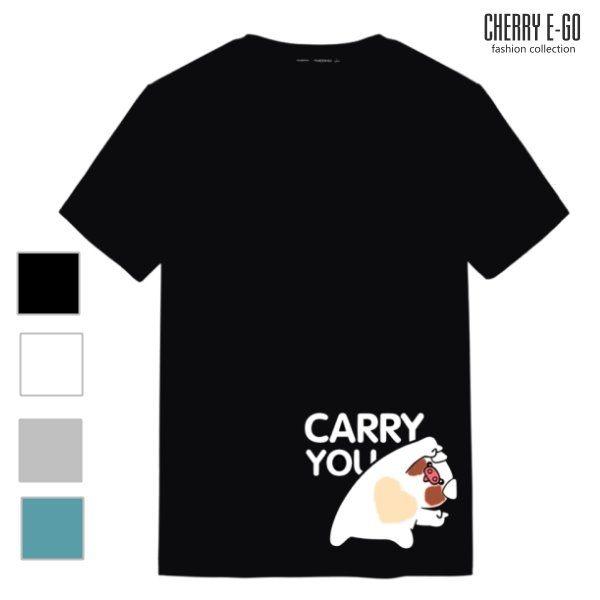 Cherry e購【X0508】情侶/潮男,CARRY YOU可愛豬印花棉短T_4色