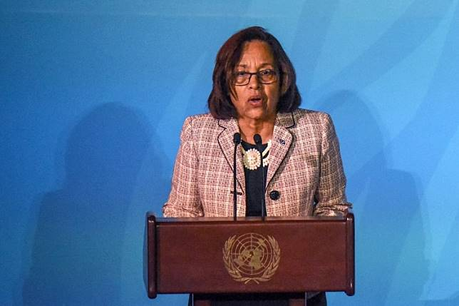 resident of the Marshall Islands Dr. Hilda C. Heine speaks at the Climate Action Summit at the United Nations on September 23, 2019 in New York City. While the United States will not be participating, China and about 70 other countries are expected to make announcements concerning climate change.