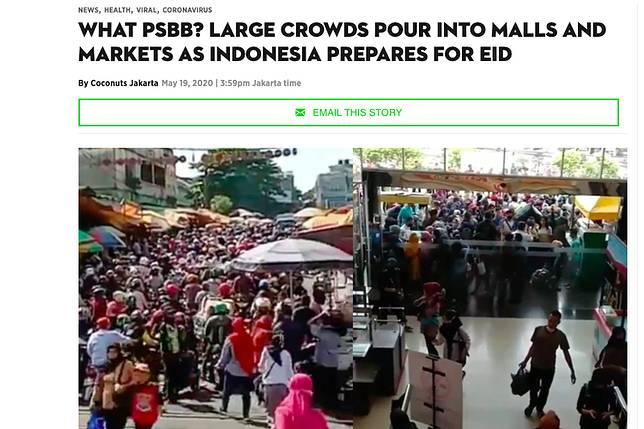Tangkapan layar portal berita Coconuts yang menyoroti banyaknya kerumunan jelang Lebaran di Indonesia (screenshoot)