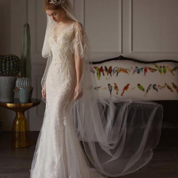 婚禮洋裝 婚紗禮服 森系輕婚紗小拖尾韓版魚尾簡約顯瘦公主花朵出門紗旅拍 BB奇趣屋