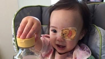 最感人的塗鴉!老爸每天替白內障女兒畫上眼罩圖案
