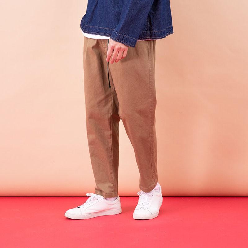 【plain-me】微瑕好物 水洗彈性打摺錐形長褲 (駝 深藍 橄綠) COP3520