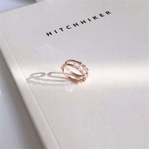 戒指日韓雙層寬面鏤空戒指女簡約百搭學生潮人鋯石戒指食指環飾品A125 唯伊時尚
