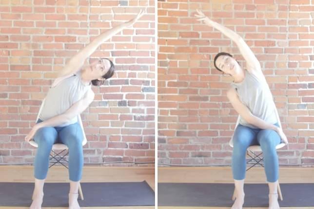 當腰側有拉扯感就可以停留並保持動作。