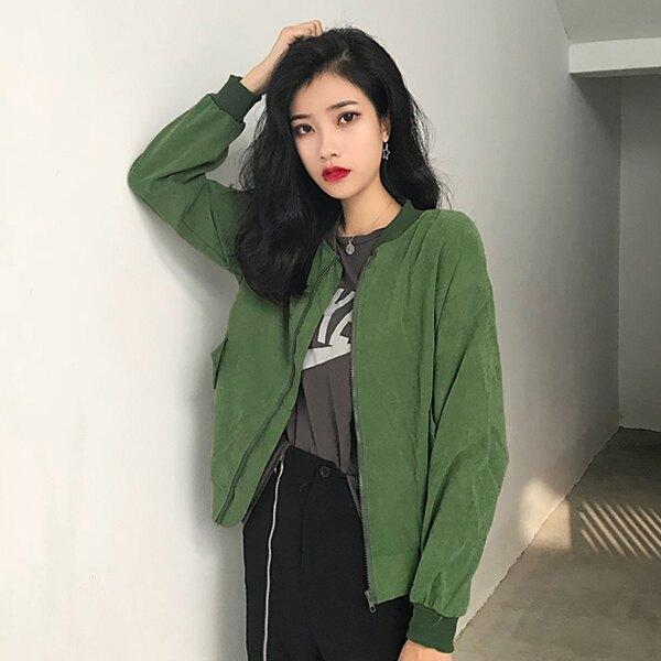 SISI【C9012】四季休閒百搭韓版寬鬆素面長袖棒球外套夾克外套防曬薄外套上衣女裝
