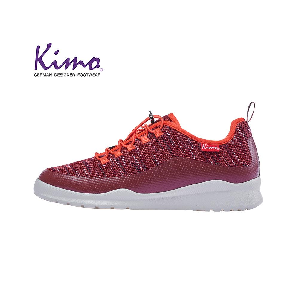 迷彩針織雙色運動風內增高休閒鞋(魅力紅kaiwf094077)針織‧休閒鞋-kimo德國品牌手工氣墊鞋