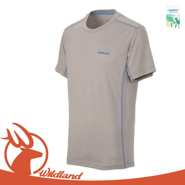 【Wildland 男 雙色圓領排汗抗UV上衣《灰》】OA31610/運動衣/登山露營/籃球/慢跑/吸濕排汗