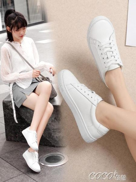 小白鞋 公猴小白鞋女新款百搭韓版ins真皮板鞋秋季平底學生基礎白鞋 coco衣巷