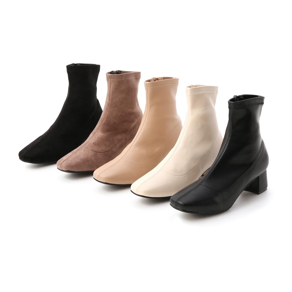 素面合腿中跟方頭襪靴 襪靴