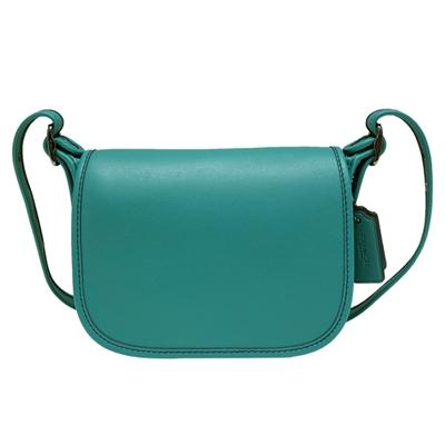 COACH 掀蓋式皮革斜背馬鞍包-藍綠色(迷你)