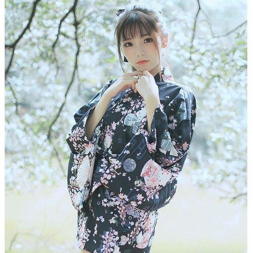 浴衣濃紺色均碼和風日式傳統復古日系紫藤狐貍女士浴衣羽織和服cos櫻花連衣裙