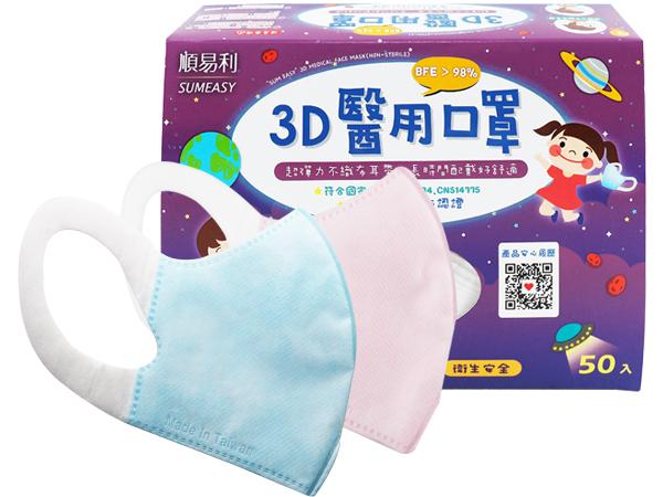 順易利~幼童3D醫用口罩(50入) 粉色/水藍色 款式可選【D567699】醫療口罩
